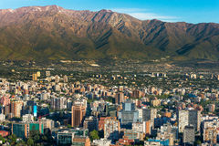 Santiago de Chile. Panoramic view of Santiago de Chile and Los Andes mountain range Royalty Free Stock Photo