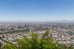 Santiago de Chile skyline seen from Cerro San Cristobal Royalty Free Stock Photography