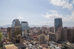 Santiago de Chile skyline seen from Cerro Santa Lucia Stock Photography