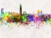 Santiago de Chile skyline in watercolor Royalty Free Stock Photo