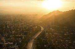 Santiago de Chile-Stadtbild bei Sonnenuntergang Lizenzfreies Stockfoto