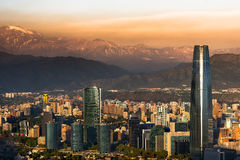 Santiago de Chile. View of Santiago de Chile with Los Andes mountain range in the back Royalty Free Stock Photography