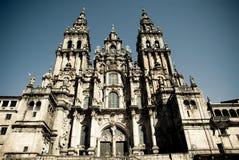 Santiago de Compostela. Facade of the Cathedral of Santiago de Compostela in Galicia, Spain Royalty Free Stock Photo