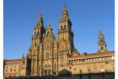 Santiago de Compostela Cathedral. Front view of Santiago de Compostela Cathedral at sunset Stock Photo