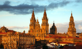 Santiago de compostela cathedral. At early evening Royalty Free Stock Photography
