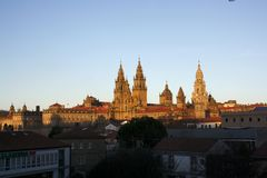Santiago de compostela cathedral. At early evening Royalty Free Stock Image