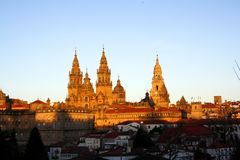 Santiago de compostela cathedral. At early evening Stock Photo