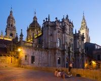 Santiago de Compostela Cathedral in evening. Time. Santiago de Compostela,  Galicia Royalty Free Stock Photos