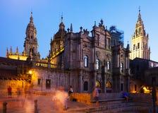 Santiago de Compostela Cathedral in evening Stock Photos