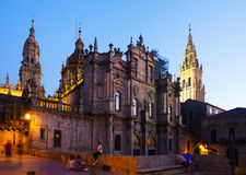 Santiago de Compostela Cathedral in evening Royalty Free Stock Photography