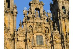Santiago de Compostela Cathedral Facade. Detail of the top of the Facade of Santiago de Compostela Cathedral by sunset Stock Photos