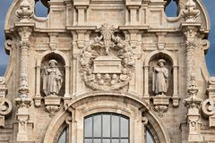 Santiago de Compostela cathedral facade detail with two sculptures of saint James and the tomb royalty free stock photography