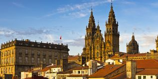 Santiago de Compostela Cathedral Galicia Spain. Santiago de Compostela Cathedral Panorama Galicia Spain. Bright blu skies royalty free stock photo