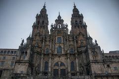 Santiago de Compostela Cathedral. Main facade of Santiago de Compostela Cathedral, Galicia, Spain. Silhouette with direct sun from behind with vignette effect royalty free stock photos