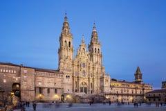 Santiago de Compostela Cathedral sikt fr?n den Obradoiro fyrkanten royaltyfri foto