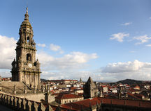 Santiago de compostela cathedral tower. From roof Stock Photography