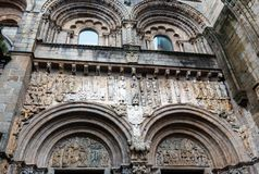 Santiago de Compostela church facade, Spain. Cathedral Santiago de Compostela south church facade with figures, Spain. Built between 1103 and 1117 Royalty Free Stock Image