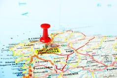 Santiago de Compostela, de kaart van Spanje Stock Afbeelding