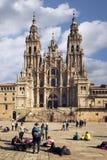 Santiago de Compostela domkyrka från den Obradoiro fyrkanten royaltyfria bilder