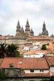 Santiago DE Compostela en haar kathedraal in Spanje Stock Afbeeldingen