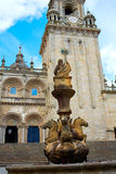 Santiago de Compostela end of Saint James Way. Santiago de Compostela Cathedral end of Saint James Way Plaza Praterias in Galicia Spain stock images