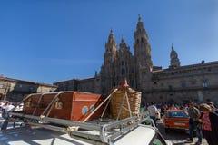 Santiago de Compostela, Galiza, Espanha; 22 de setembro de 2018: Exposição de carros do clássico e do vintage imagem de stock