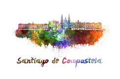 Santiago De Compostela linia horyzontu w akwareli Zdjęcie Stock