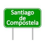 Santiago de Compostela road sign. Royalty Free Stock Images