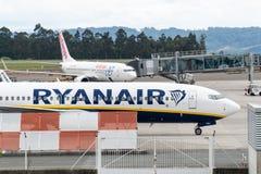 Air Europa and Ryanair planes on Santiago de Compostela Airport. Santiago de Compostela, Spain. April 19 2019: Air Europa and Ryanair planes on Santiago de royalty free stock photos