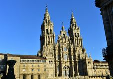 Santiago de Compostela, Spain. Cathedral with sunset light and clean stone. Side view, Obradoiro Square. stock images