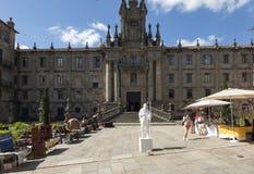 Santiago de Compostela, Spain June 14,2018, Street artist in con. Vent of San Martino Pinario, Santiago de Compostela, Galicia, Spain stock image