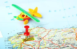 Santiago de Compostela ,Spain map flight Royalty Free Stock Images