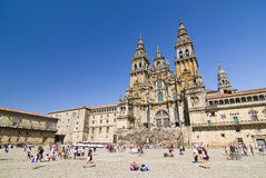 Santiago de Compostela, Spain. View of Obradoiro square and cathedral of Santiago, one of the most important Christian pilgrimage places, on August 19, 2013, in