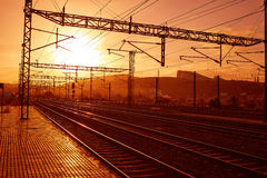 Santiago de Compostela sunrise at train railways Stock Photo