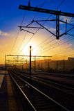 Santiago de Compostela sunrise at train railways. End of Saint James Way Stock Photos