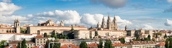 Santiago de Compostela wide panoramic view High resolution. Destiny of the way of St. James. Pilgrimage stock images