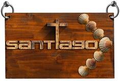 Santiago de Compostela  - Wooden Sign Royalty Free Stock Photography