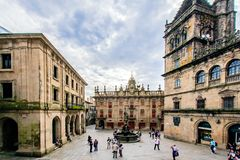 Santiago de Compostella, Galicië, Spain. View of the Gate of the Goldsmiths, Praza das Praterias, with its fountain from the 17th century Royalty Free Stock Photos