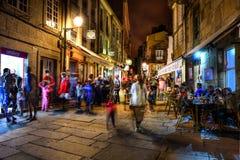 Santiago de Compostella por noche Imagen de archivo libre de regalías