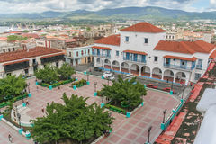 Santiago de Cuba City Hall and Parque Cespedes. View from the roof patio of the Grande Hotel, towards Santiago de Cuba City Hall and Parque Cespedes Royalty Free Stock Images