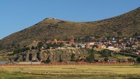 Santiago De Puja Church And Puno-Stad, Peru stock videobeelden