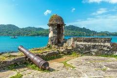 Santiago Fortress i Portobelo, karibiskt hav, Panama arkivbild