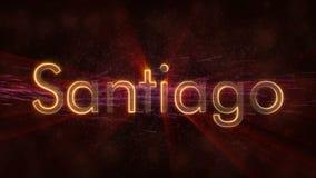 Santiago - glänzender Schleifungsstadtname in Chile, Textanimation lizenzfreie abbildung