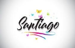 Santiago Handwritten Vetora Word Text com borboletas e Swoosh colorido ilustração stock