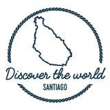 Santiago Island Map Outline L'annata scopre Immagine Stock Libera da Diritti