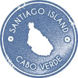 Santiago Island map vintage stamp. Retro style handmade label, badge or element for travel souvenirs. Light blue rubber stamp with island map silhouette Royalty Free Stock Photo