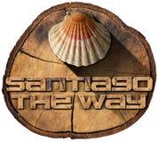 Santiago la manera - símbolo del peregrinaje Foto de archivo