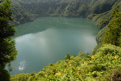 Santiago lake. Lagoa de Santiago in Sete Cidades area, on the Portuguese island of Sao Miguel in the Azores royalty free stock images