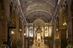 Santiago Metropolitan Cathedral, Santiago de Chile, Chile. Details of the interior with tha altar of the Santiago Metropolitan Cathedral in Plaza de Armas Royalty Free Stock Images