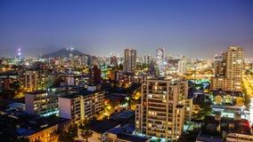 Santiago på skymning, Timelapse 4K arkivfilmer